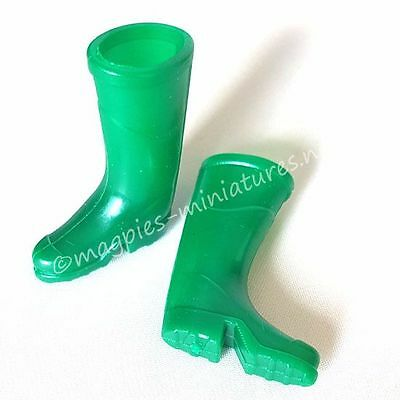 Dolls House 12th scale Green wellington boots wellies