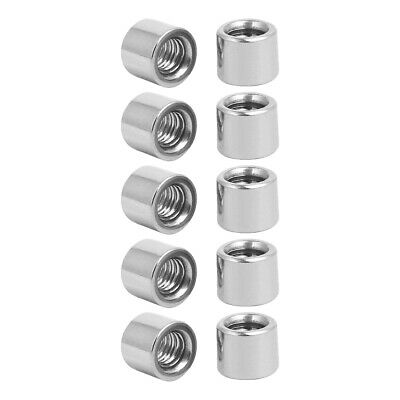 M6x10mmx8mm Rod Bar Stud Round Coupling Connector Nuts 10pcs