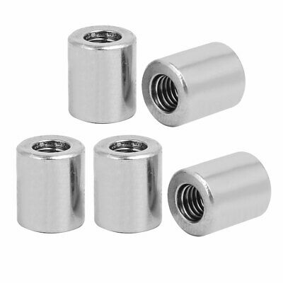 M6x12mmx14mm Rod Bar Stud Round Coupling Connector Nuts 5pcs