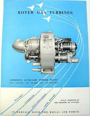 ROVER Gas Turbines Airbourne Auxiliary Power Plant Original Sales Sheet 1940/50s
