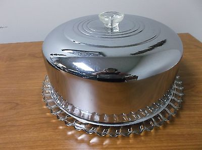 Vintage Mid-Century Pressed Glass Cake Dish*chrome Dome Lid With Glass Handle