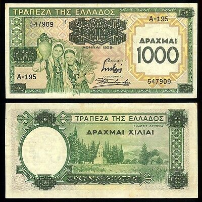 Greece P-111a Bank of Greece 1000/100 Drachmai 1939  F/VF