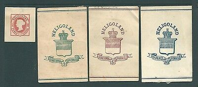 HELIGOLAND - Four Queen Victoria POSTAL STATIONERY cut-outs