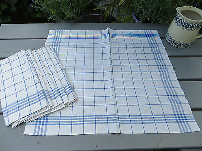 "Unused Set Of Six  ( 6) White Blue Stripes  Linen + Cotton Towels 20 "" by 22 """