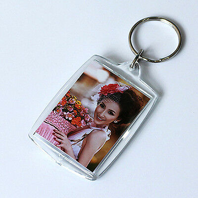 10Pcs Clear Acrylic Blank Insert Photo Picture Key Ring Keyring Keychain NEW