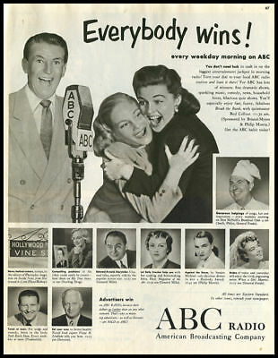 1951 vintage ad for ABC radio shows