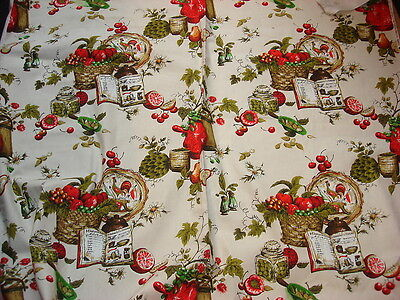 """Vintage Decorator Fabric KITCHEN ITEMS & FRUIT Red/Green/Brown 1 Yd/50"""" Wide"""