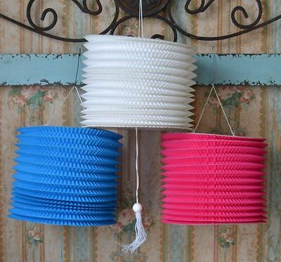 """Chinese Accordion Paper Lanterns 6"""" Blue Pink & White Party Decoration Lot of 5"""