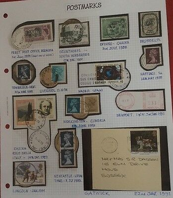Stamp Album Page - Postmarks - 16 - stamps - worldwide - not hinged