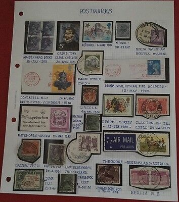 Stamp Album Page - Postmarks - 25 - stamps - worldwide - not hinged