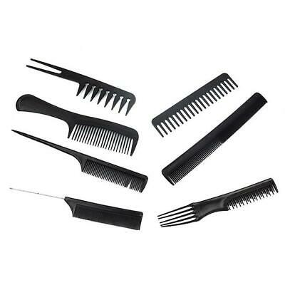 7 piece Hair Styling Comb Set Professional Black Hairdressing Brush Barbers