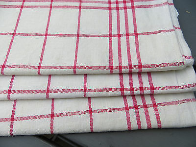 "Unused Set Of Three  ( 3) White  Linen Towels Red Stripes 23""by 23 "" EXCELLENT"