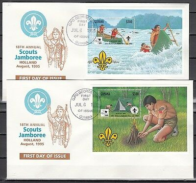 Guyana, Scott cat. 2968-2968. 18th Scout Jamboree s/sheets. First day covers.