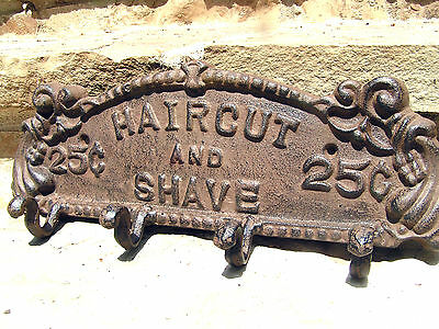 Old style Beauty or Barber Shop Salon Sign 4 peg hooks
