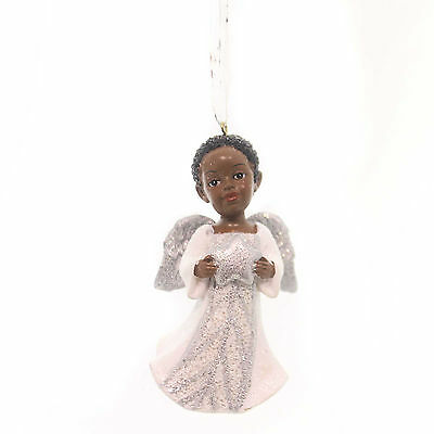 Holiday Ornaments AFRICAN AMERICAN ANGEL Silver Glittered Wings Black C8868 Star