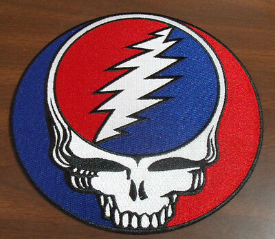 """Grateful Dead Steal Your Face Syf Embroidered Large Back Patch 8"""" Across New"""
