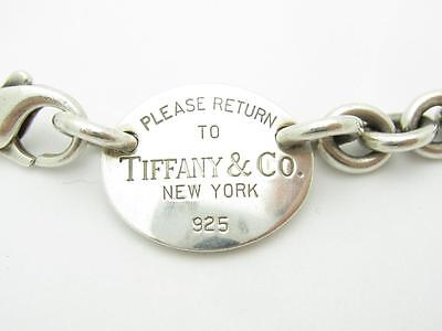 Pre-Owned Tiffany & Co. Oval Dog Tag Return To Tiffany Link Chain Necklace Gift