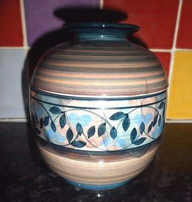 Jersey Pottery Beautiful Med Size Lidded Pot Hand Painted,lovely Condition