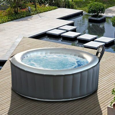 M-Spa Silver Cloud Lite 4 Person Inflatable Hot Tub Round Luxury Jacuzzi Bubble