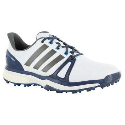NEW Adidas Mens ADIPOWER BOOST 2 Golf Shoes White / Silver / Blue - Choose Size!
