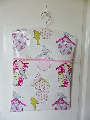 "Handmade OILCLOTH Peg/Hanging Storage Bag + Zip 12½"" x 16"" Sorbet Bird House"