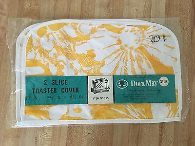 Vintage Dora May Yellow White Floral Vinyl 2 Slice Toaster Cover NEW