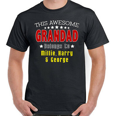 Personalised This Awesome Grandad Belongs To Mens Funny Father's Day T-Shirt