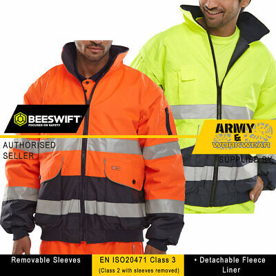 Mens Europa Hi Viz Two Tone Safety Bomber Site Work Jacket Removable Sleeves