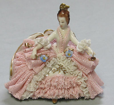 Antique Dresden seated pink Lace Lady with fan Blue Crown Mark Germany porcelain