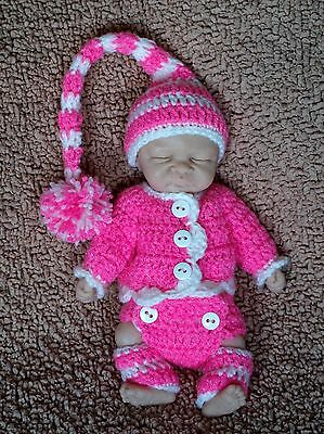 Handmade Crochet Outfit Clothes For 8-9 inch OOAK Mini Baby Silicone Clay Doll