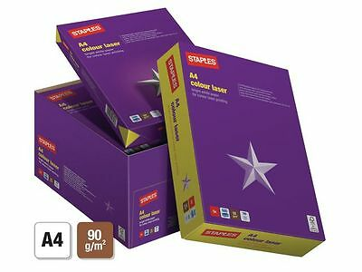 Staples Colour Laser 2500 Sheets 1 Box  5 Reams A4 White Paper 90 Gsm + Free 24H