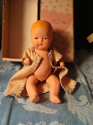 """Vtg Bisque Jointed Arms & Legs Baby Doll Kerr & Hinz W/ Box 50's 4/14"""""""