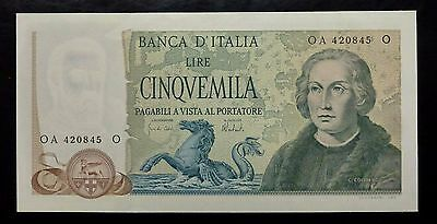 {BJSTAMPS}  Italy Banknote 5000 Lire 1973 UNC 102b