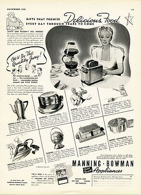 MANNING BOWMAN Appliance Ad 1938 Toaster Waffles Coffee Pans Irons Party