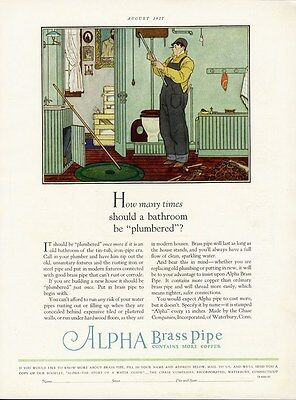 ALPHA BRASS PIPE Ad 1927 Shows Plumber in Basement Fixing Bathroom