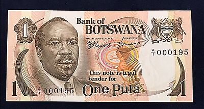 Botswana 1 pula 1976 Sir Seretse Khana - Low Serial Number A/1 - P1 - UNC