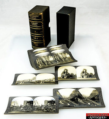 Old Stereographic Library Panama Canal Stereoview 20 Cards in Box Vol. 1