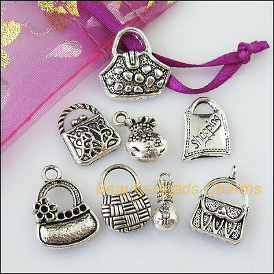 8 New Mixed Lots of Tibetan Silver Tone Money Bag Charms Pendants