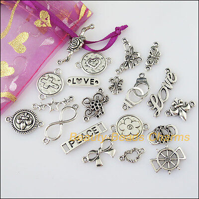 20 New Connectors Mixed Lots of Tibetan Silver Tone Charms Pendants