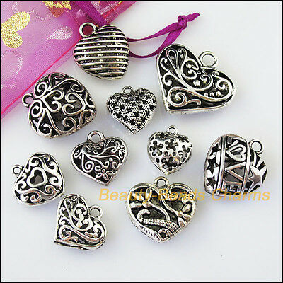 10 New Mixed Lots of Tibetan Silver Tone Hollow Heart Charms Pendants