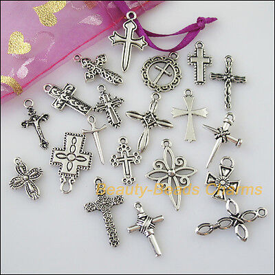 20 New Mixed Lots of Tibetan Silver Tone Cross Charms Pendants