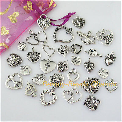 30 New Mixed Lots of Tibetan Silver Tone Hearts Charms Pendants