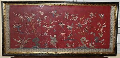 Antique Chinese Figural Silk Embroidery Figures,Bridge,Flowers,Butterflies,Birds