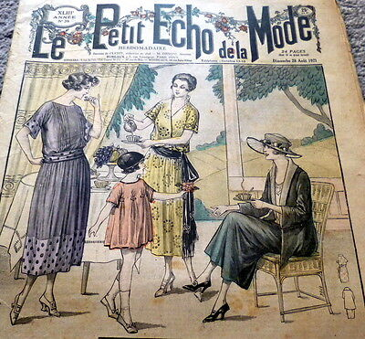 *VTG 1920s PARIS FASHION & SEWING PATTERN CATALOG LE PETIT ECHO de la MODE 1921