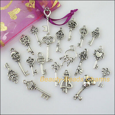 20 New Mixed Lots of Tibetan Silver Tone Keys Charms Pendants