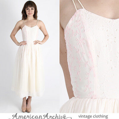 Vintage 50s Floral Eyelet Dress Wedding Gown Cocktail Party Pink Embroider Maxi