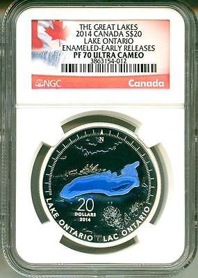 2014 Canada S$20 The Great Lakes Lake Ontario Enameled ER NGC PF70 Ultra Cameo