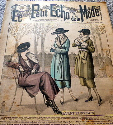 *VTG 1920s PARIS FASHION & SEWING PATTERN CATALOG LE PETIT ECHO de la MODE 1920