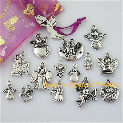 15 New Mixed Lots of Tibetan Silver Tone Lovely Angel Charms Pendants