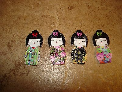 Lot of 4 Japanese Geisha wood buttons